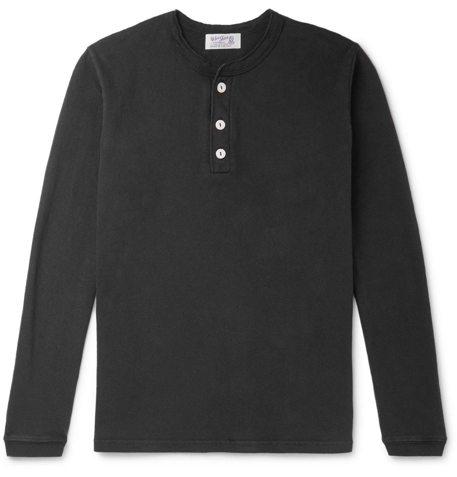 Photo: Velva Sheen - Slim-Fit Garment-Dyed Cotton-Jersey Henley T-Shirt - Black