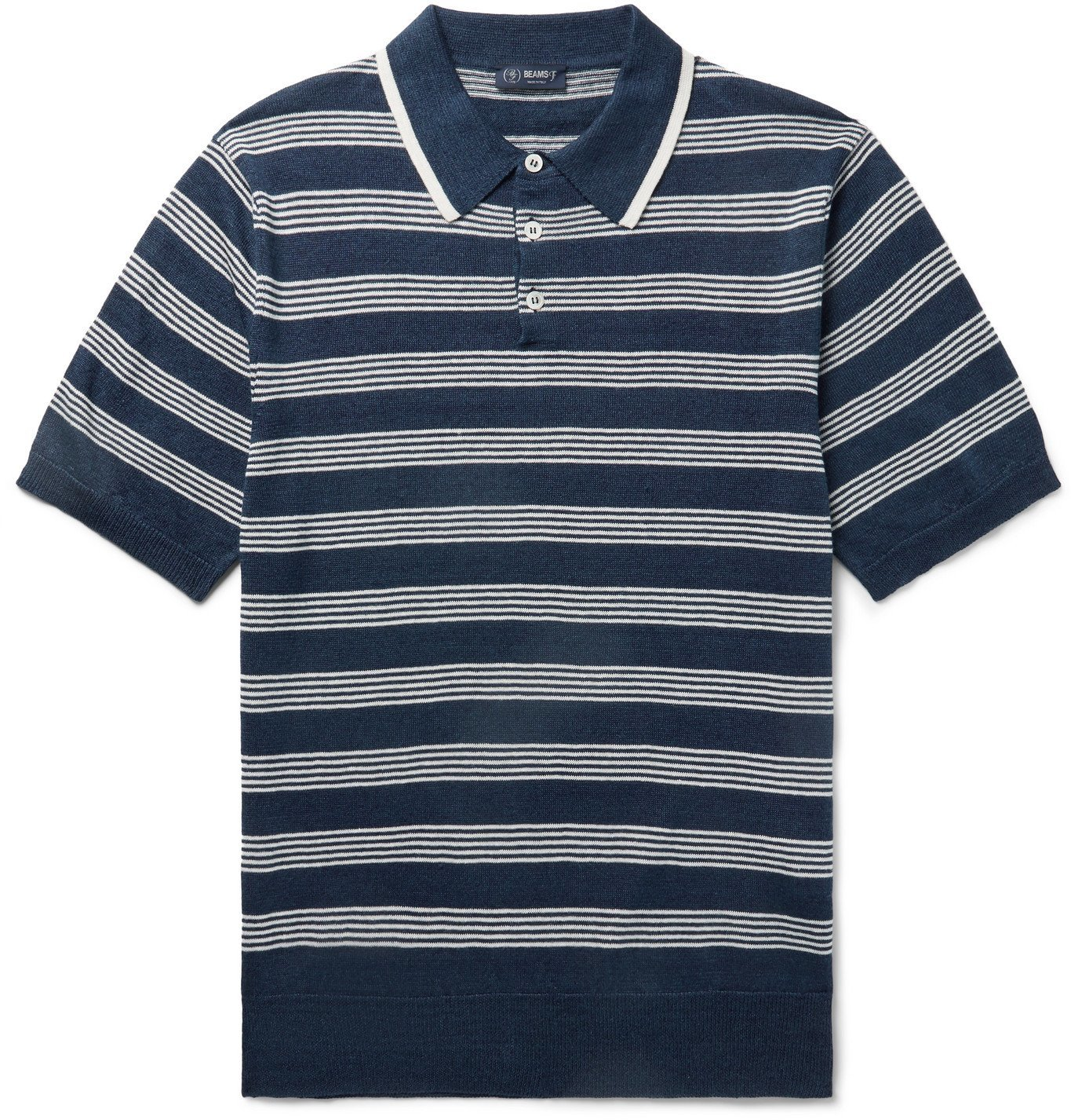 Photo: Beams F - Striped Linen and Cotton-Blend Polo Shirt - Blue