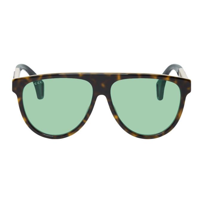 Photo: Gucci Tortoiseshell Oversized Pilot Sunglasses