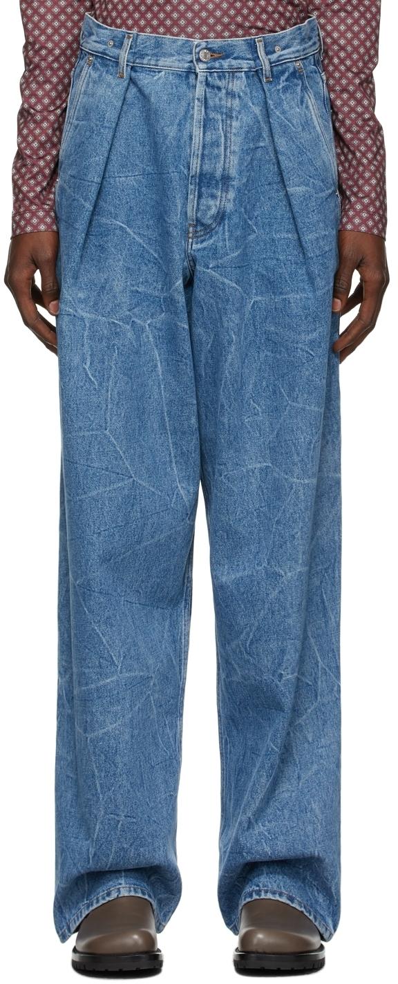 Photo: Dries Van Noten Blue Marbled Wide-Leg Jeans