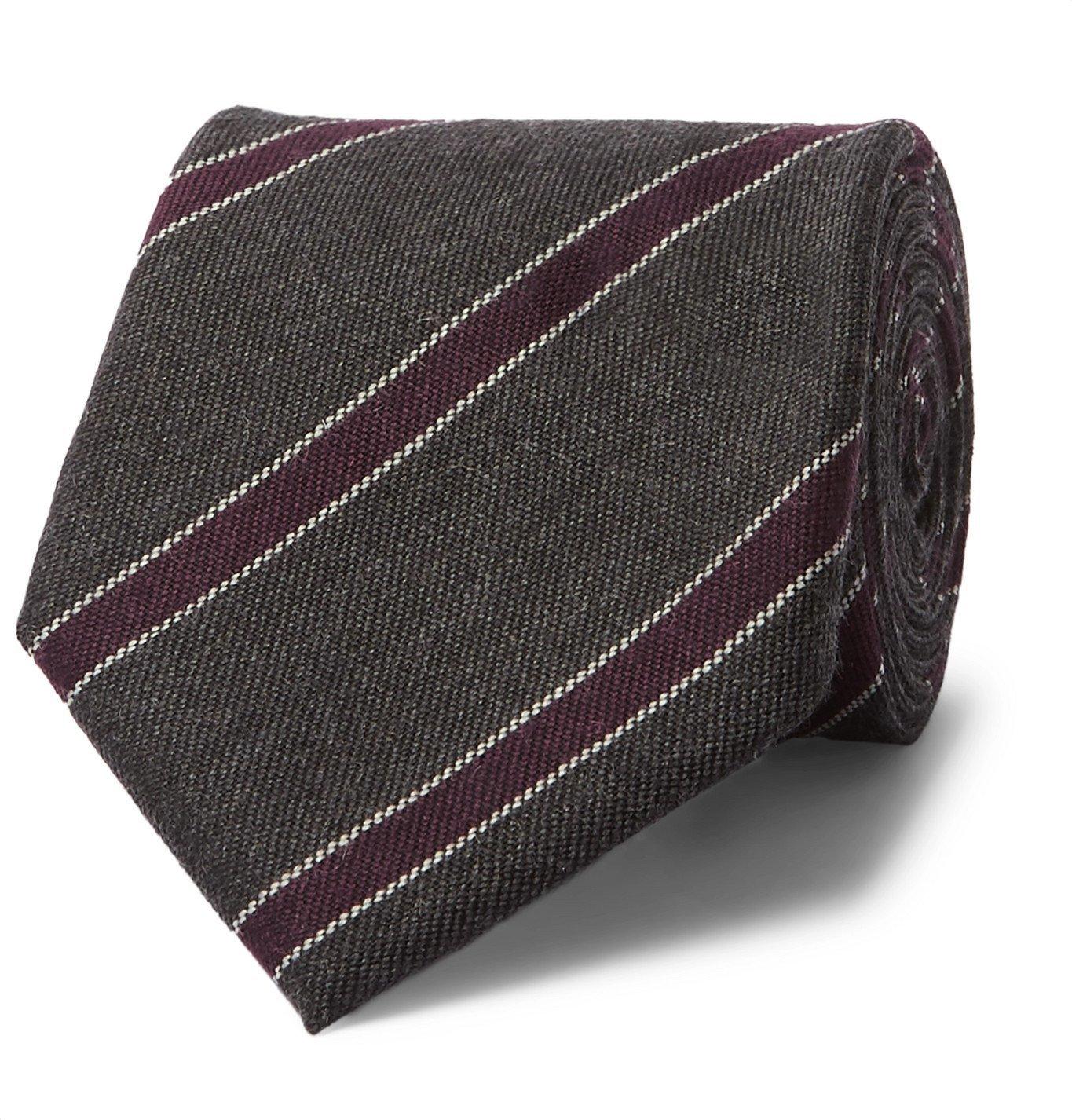 Photo: Bigi - 9cm Striped Cashmere-Jacquard Tie - Gray