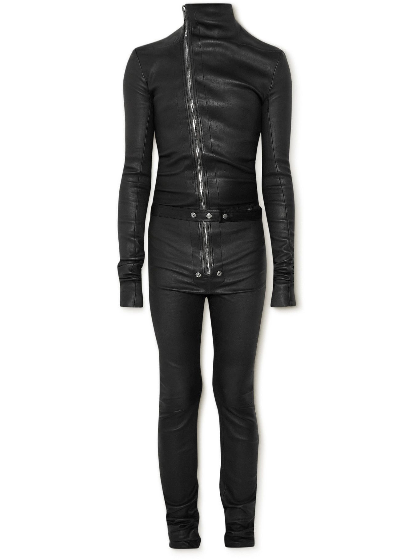 Photo: Rick Owens - Gary Stretch Leather and Cotton-Blend Jumpsuit - Black