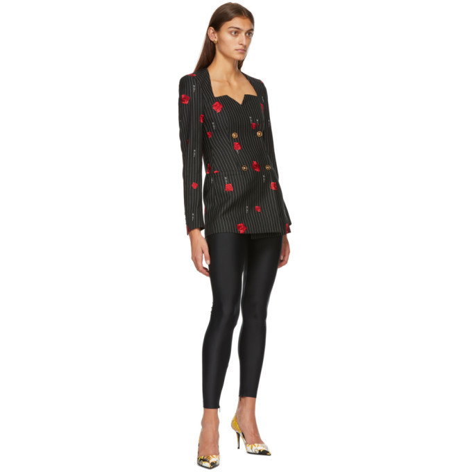 Versace Black Floral Double-Breasted Blazer