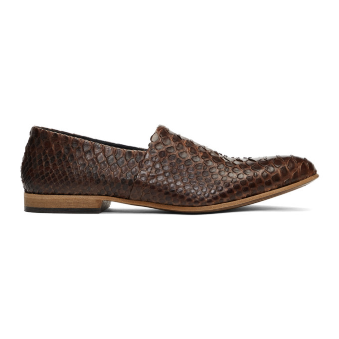 Photo: Haider Ackermann Brown Snake Babouche Loafers