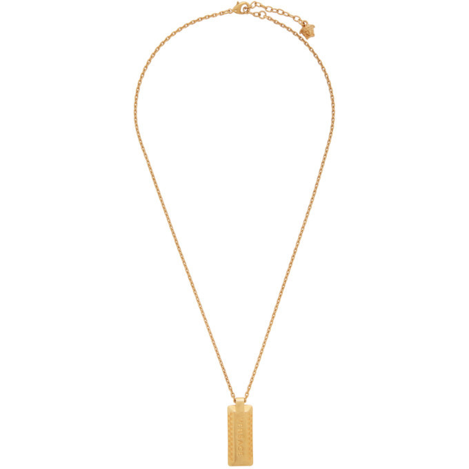 Photo: Versace Gold Logo Dogtag Necklace