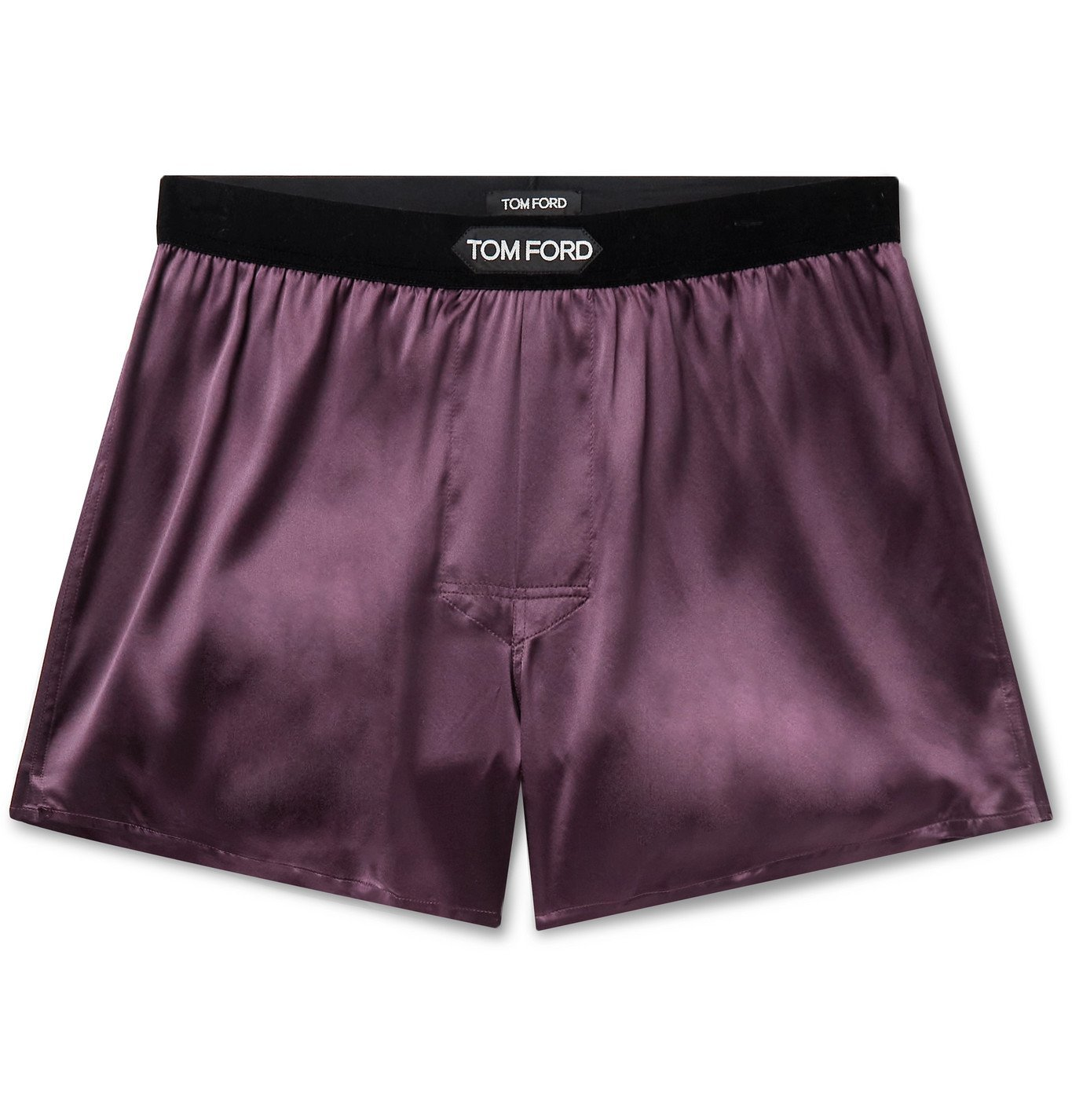 Photo: TOM FORD - Velvet-Trimmed Stretch-Silk Satin Boxer Shorts - Burgundy