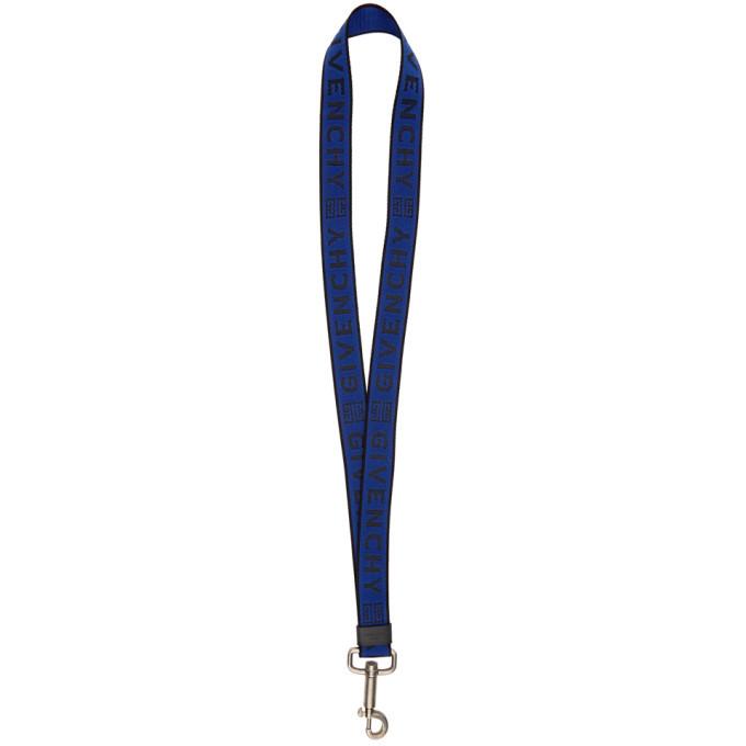 Photo: Givenchy Blue and Black Logo Webbing Keychain