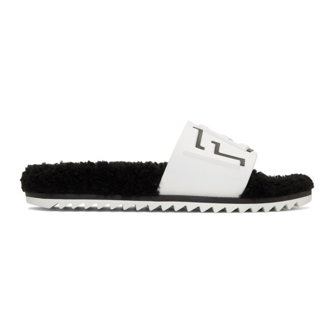 Photo: Fendi White Shearling Footbed Slides