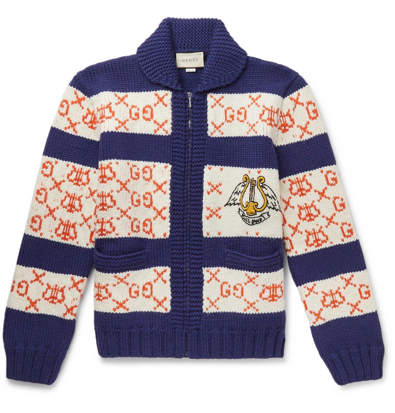 Photo: Gucci - Intarsia Wool Bomber Jacket - Blue