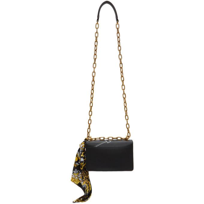 Versace Jeans Couture Black Baroque Seam Print Logo Bag