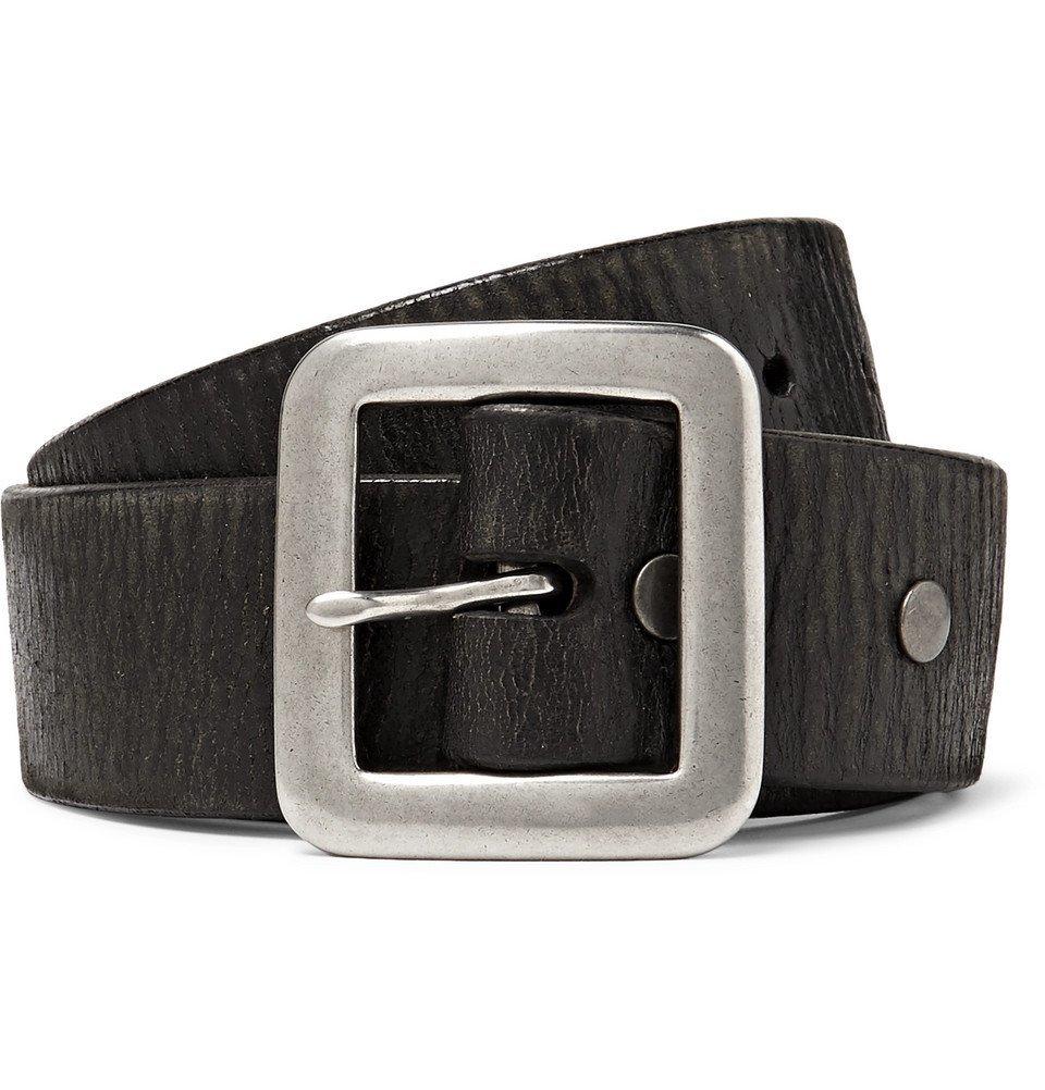 RRL - 3.5cm Black Burlington Distressed Leather Belt - Black