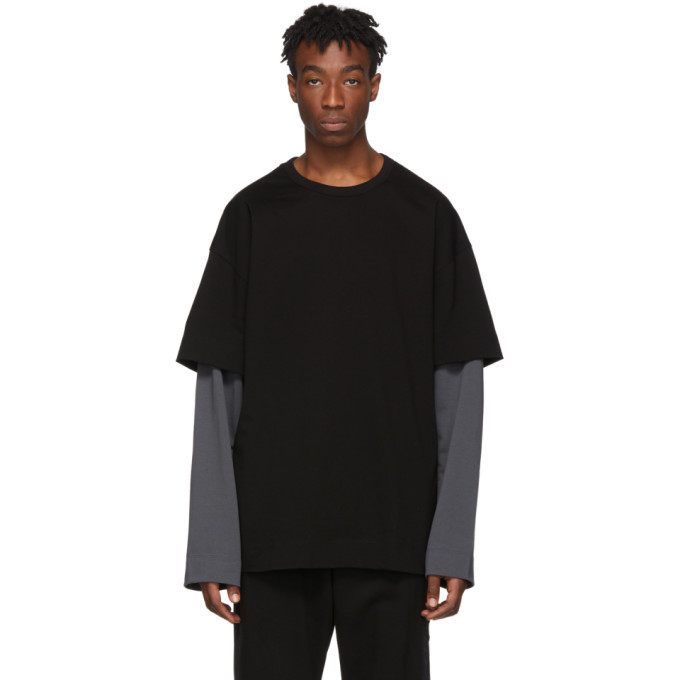 Photo: Juun.J SSENSE Exclusive Black and Grey Layered Long Sleeve T-Shirt