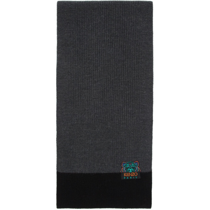Photo: Kenzo Grey and Black Limited Edition Holiday Wool Two-Tone Tiger Scarf