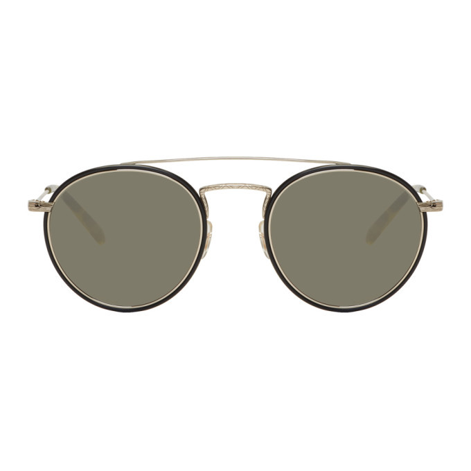 Oliver Peoples Gold and Black Ellice Sunglasses