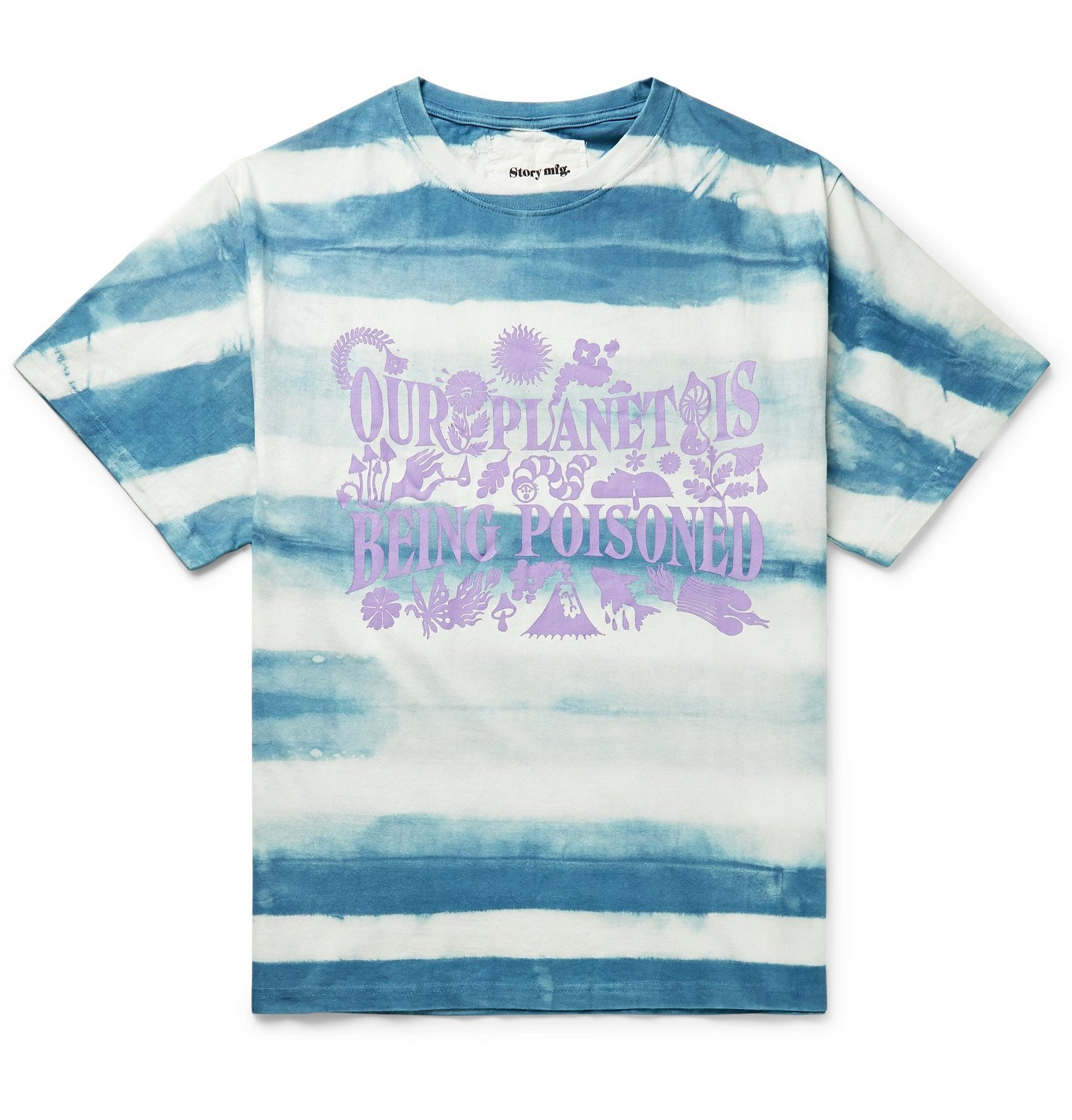 Photo: Story Mfg. - Printed Tie-Dyed Organic Cotton-Jersey T-Shirt - Blue
