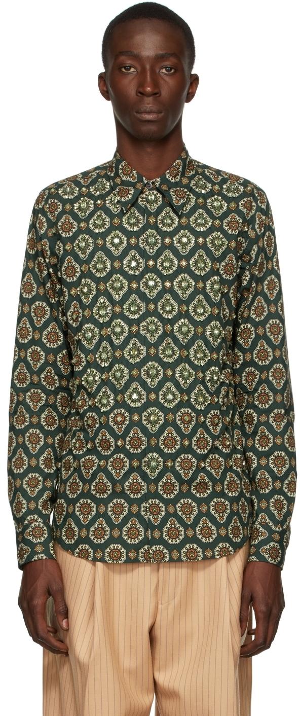 Photo: Dries Van Noten Green Poplin Printed Embellished Shirt