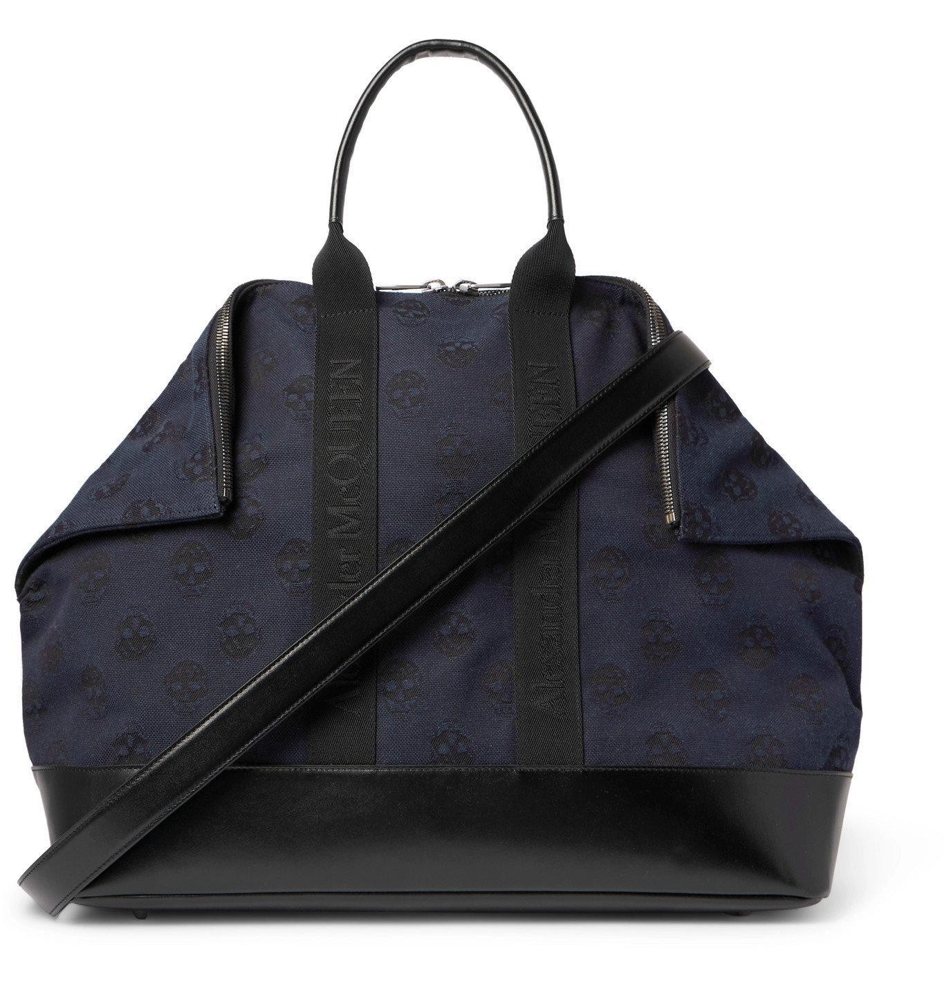 Photo: ALEXANDER MCQUEEN - Leather-Panelled Logo-Jacquard Canvas Holdall - Blue