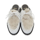 Sacai White and Grey Faux-Fur Slides