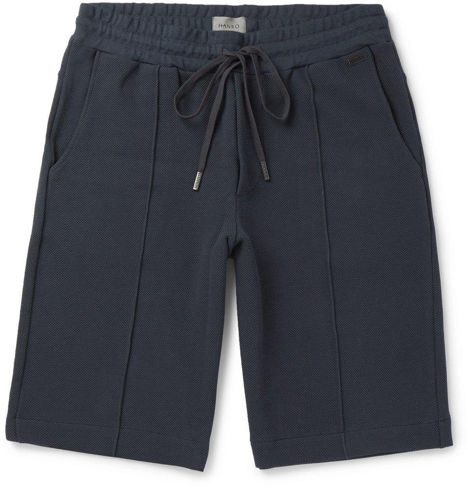 Hanro - Bruno Stretch Cotton-Blend Piqué Drawstring Shorts - Anthracite
