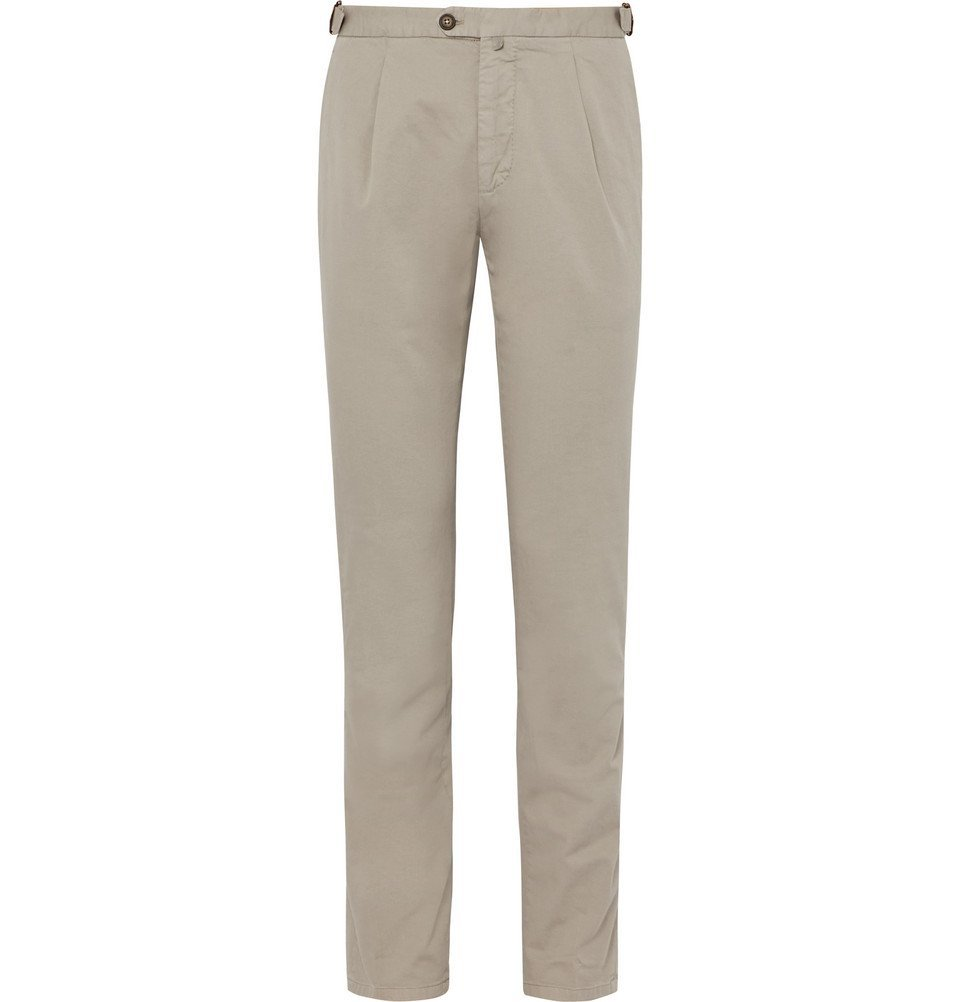 Photo: Thom Sweeney - Pleated Stretch-Cotton Chinos - Light gray