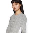 Sacai Grey and White Knit Wool Sweater