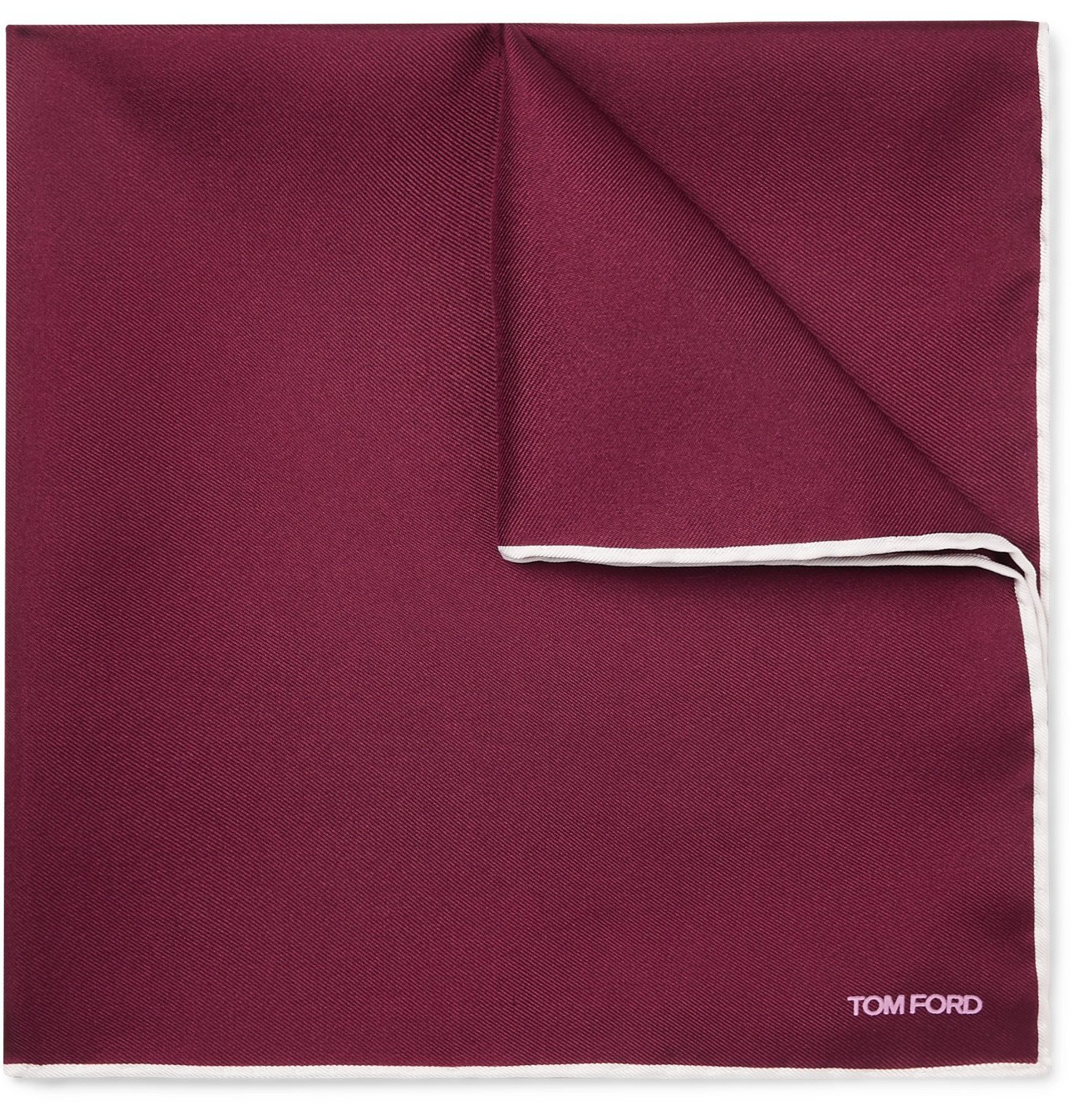 Photo: TOM FORD - Contrast-Tipped Silk-Twill Pocket Square - Burgundy