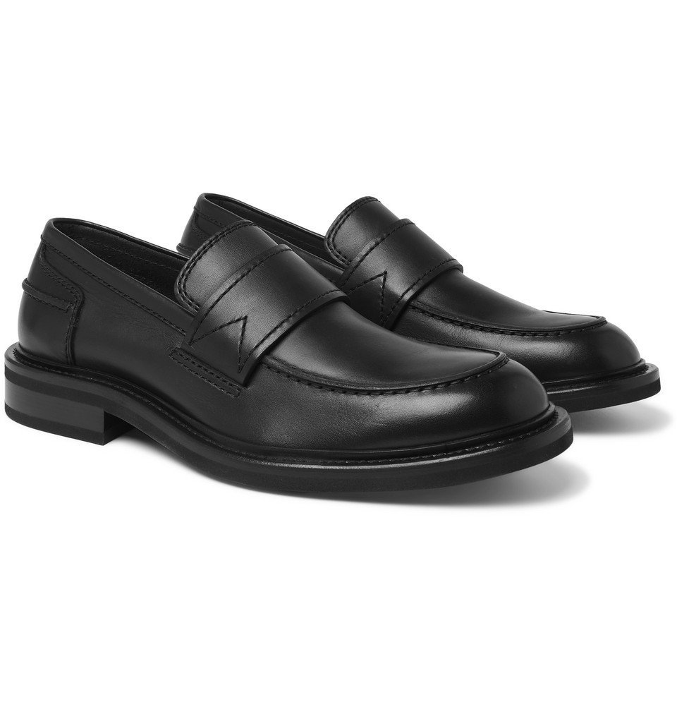 Photo: Bottega Veneta - Leather Penny Loafers - Black