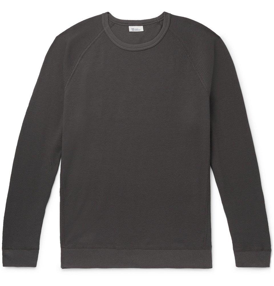 Schiesser - Ernst Waffle-Knit Cotton Sweatshirt - Dark gray