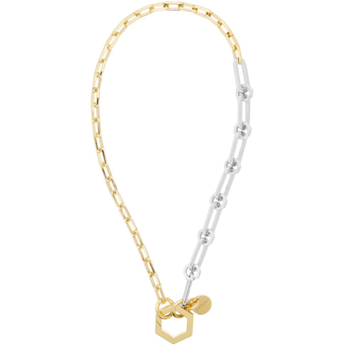 Photo: Givenchy Gold and Silver Short Hexagonal Hook and Chains Necklace
