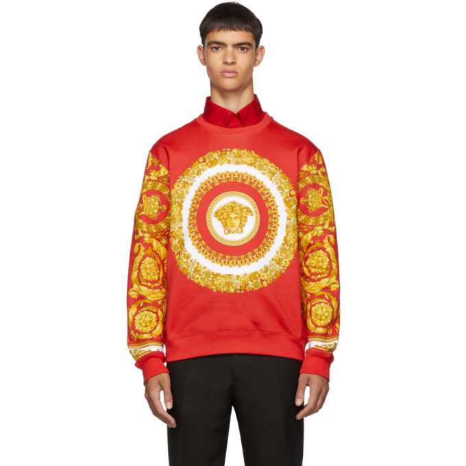 Photo: Versace Red and Yellow Barocco Print Sweatshirt