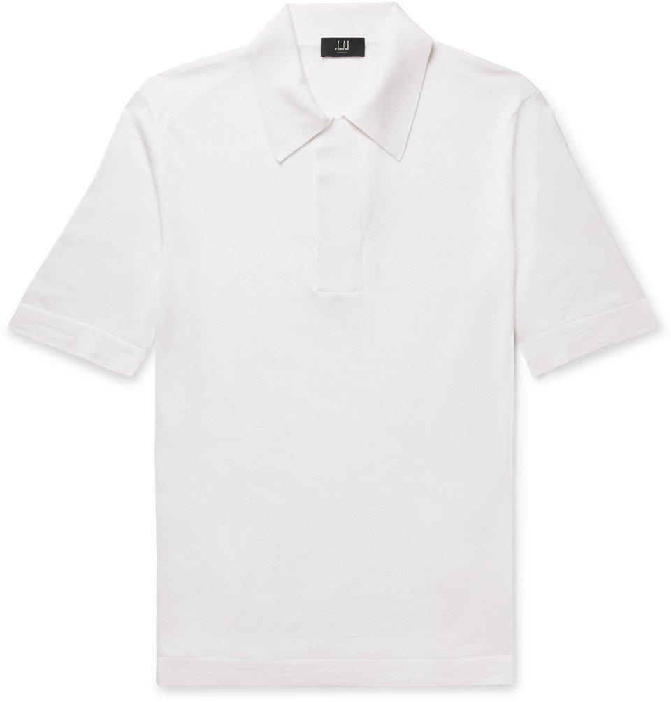 Dunhill - Merino Wool and Mulberry Silk-Blend Polo Shirt - Cream