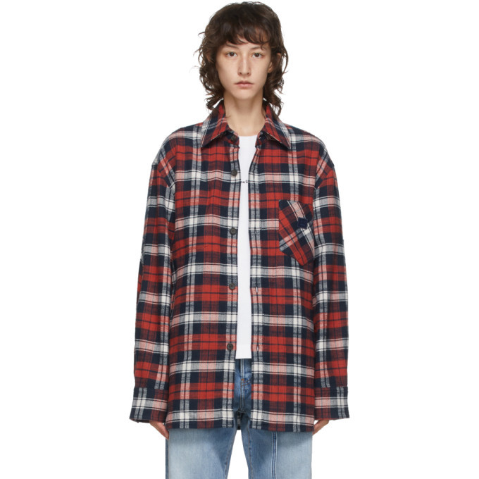 Acne Studios Red and Blue Flannel Patch Shirt