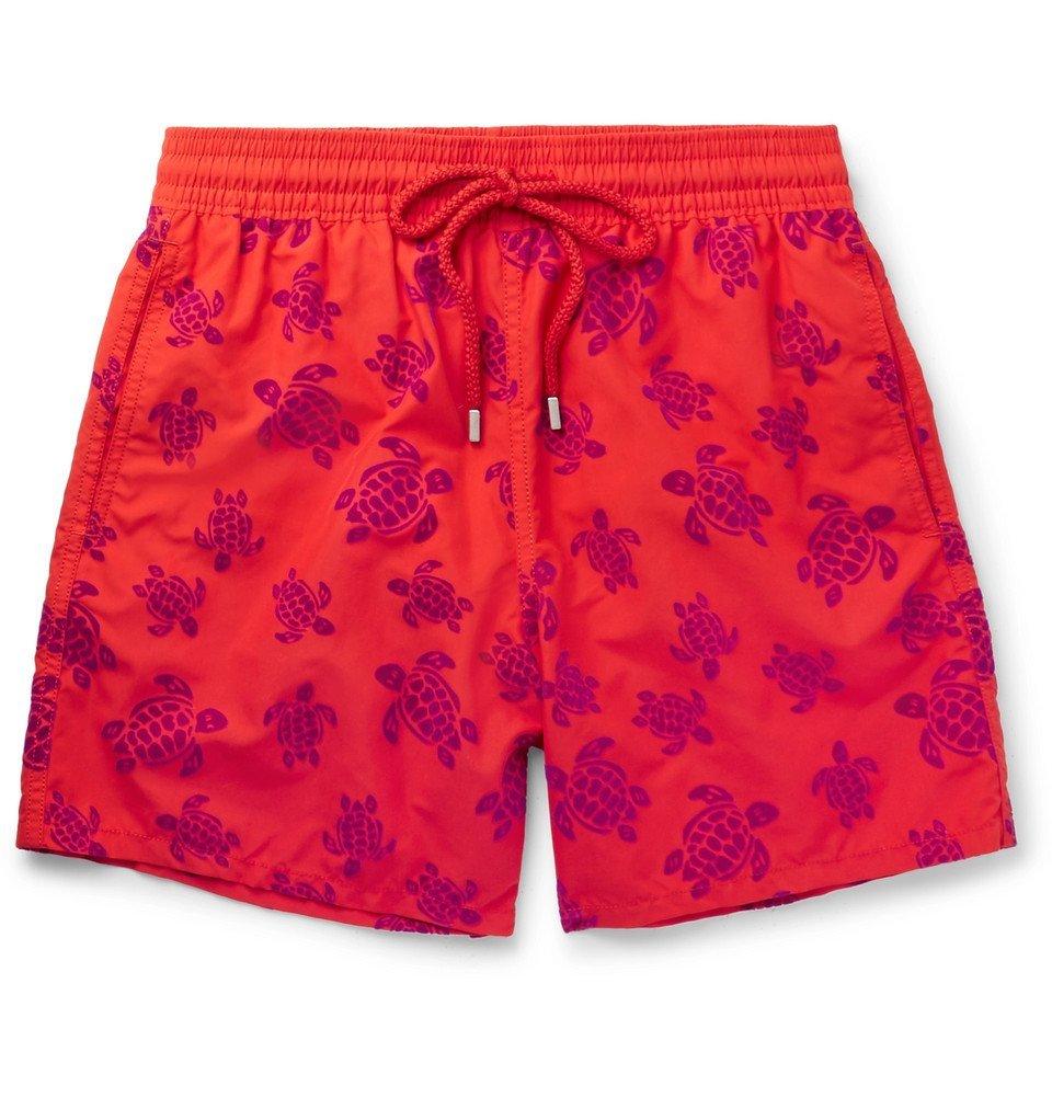 Photo: Vilebrequin - Moorea Mid-Length Flocked Swim Shorts - Tomato red