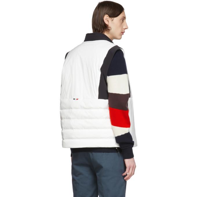 Moncler White and Black Down Chabod Vest
