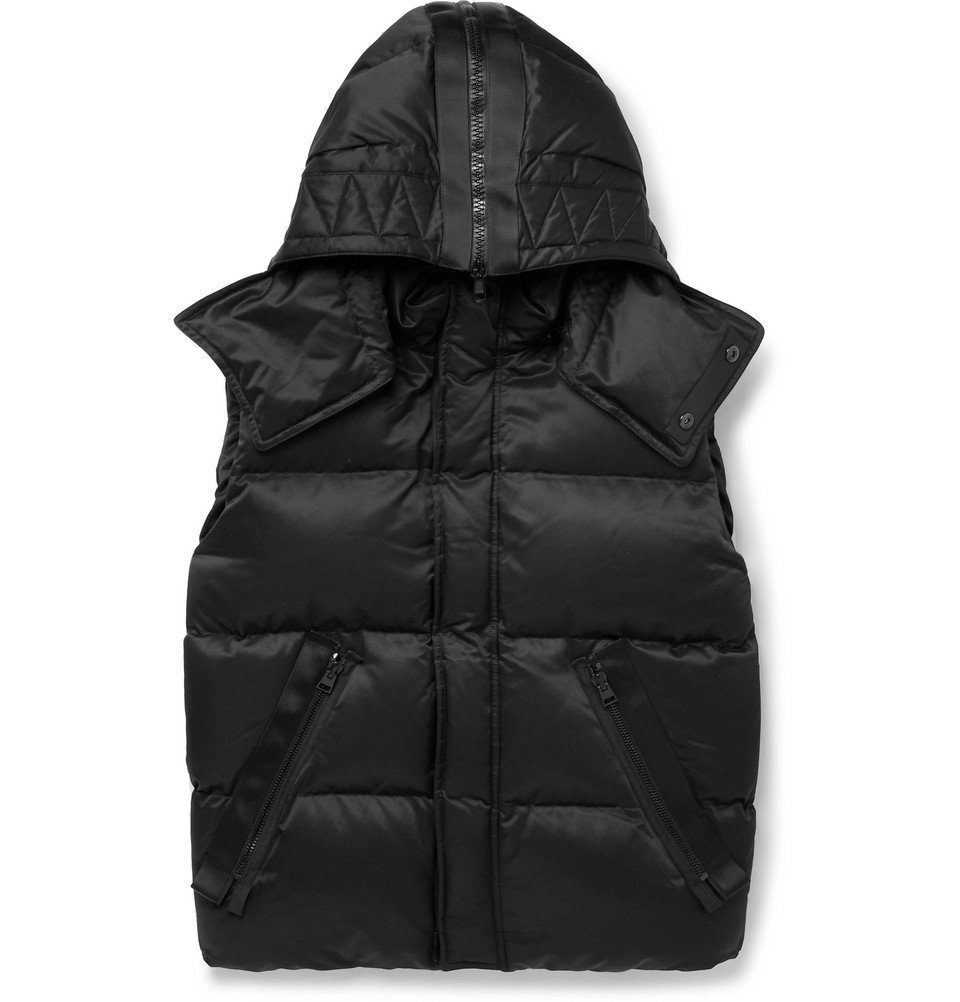 Photo: TOM FORD - Oversized Quilted Cotton-Blend Hooded Down Gilet - Men - Black