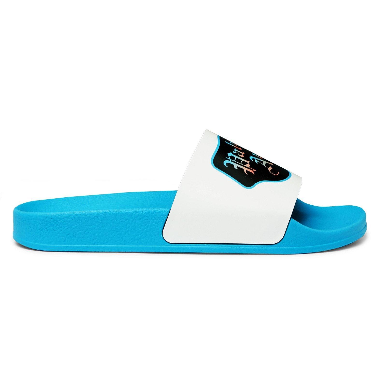 Photo: Palm Angels - Logo-Print Rubber Slides - Blue