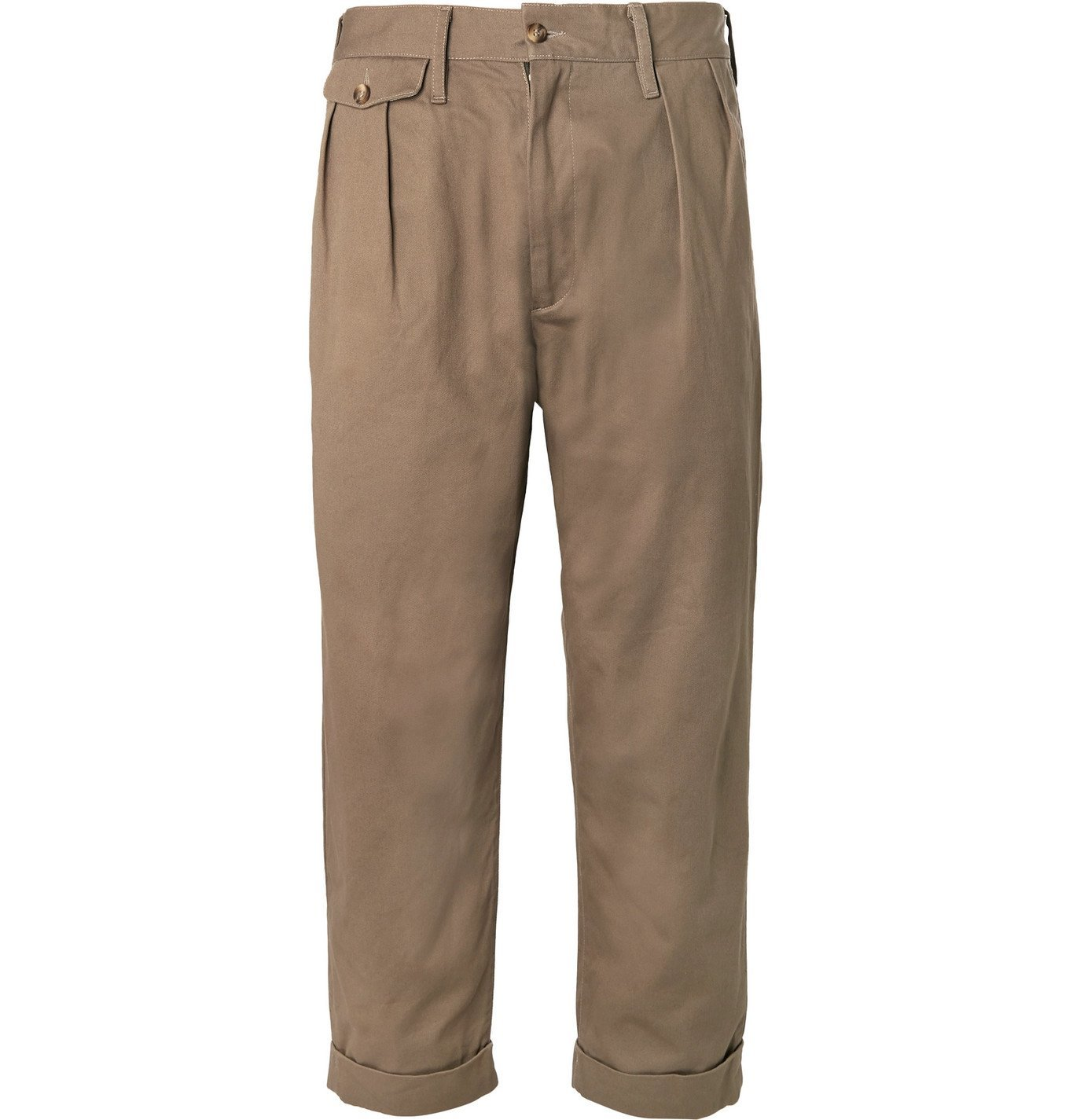 Photo: The Workers Club - Tapered Pleated Cotton-Twill Chinos - Brown
