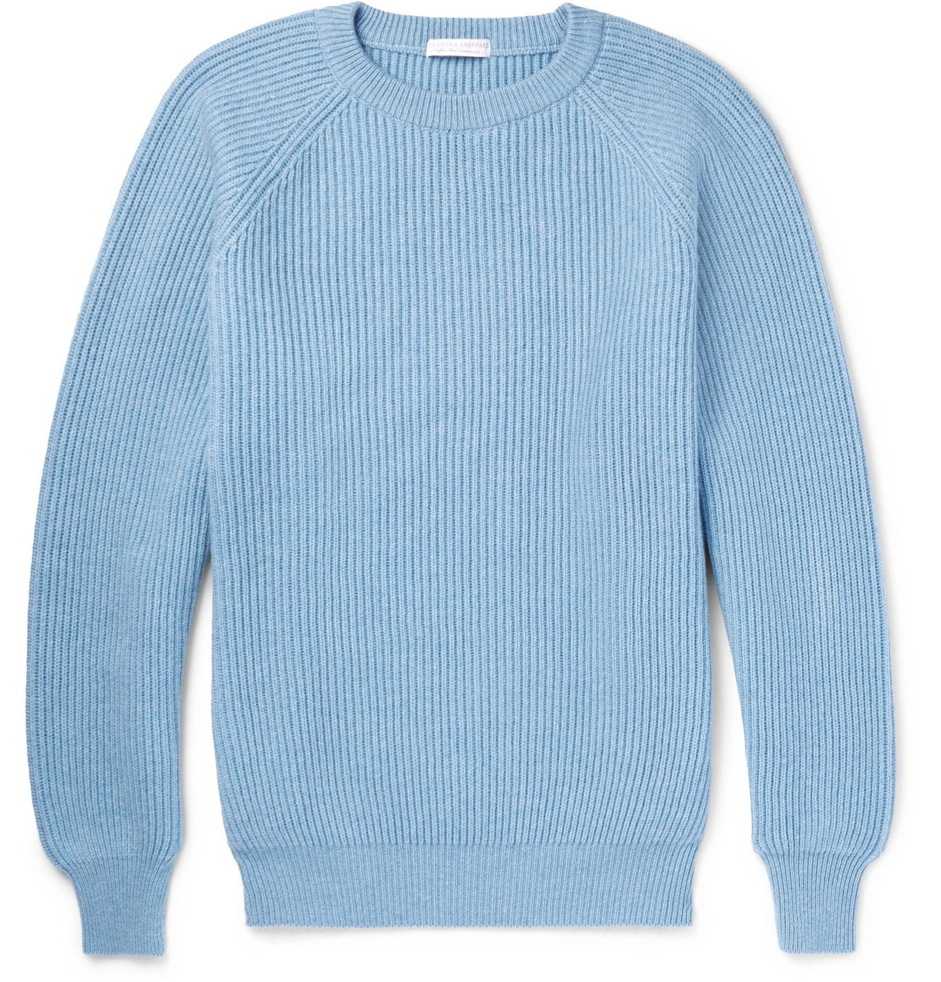 Photo: Anderson & Sheppard - Ribbed Cashmere Sweater - Blue