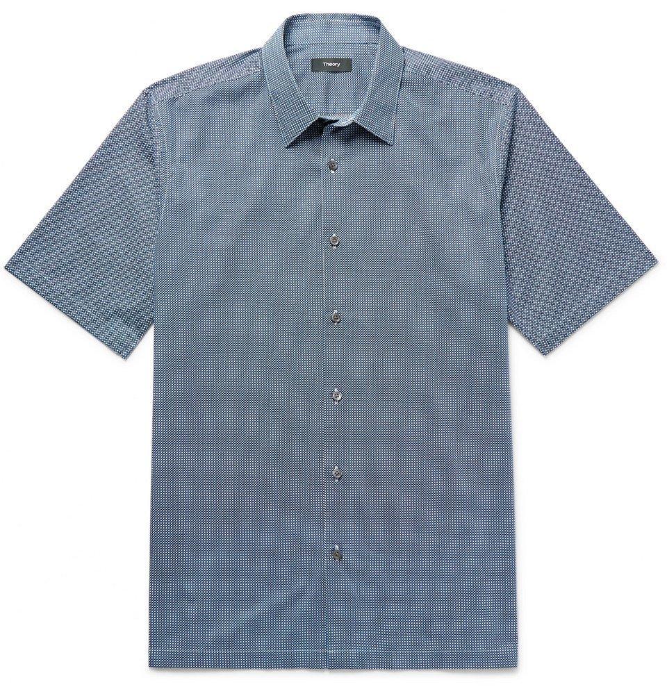 Photo: Theory - Menlo Slim-Fit Printed Stretch-Cotton Shirt - Blue