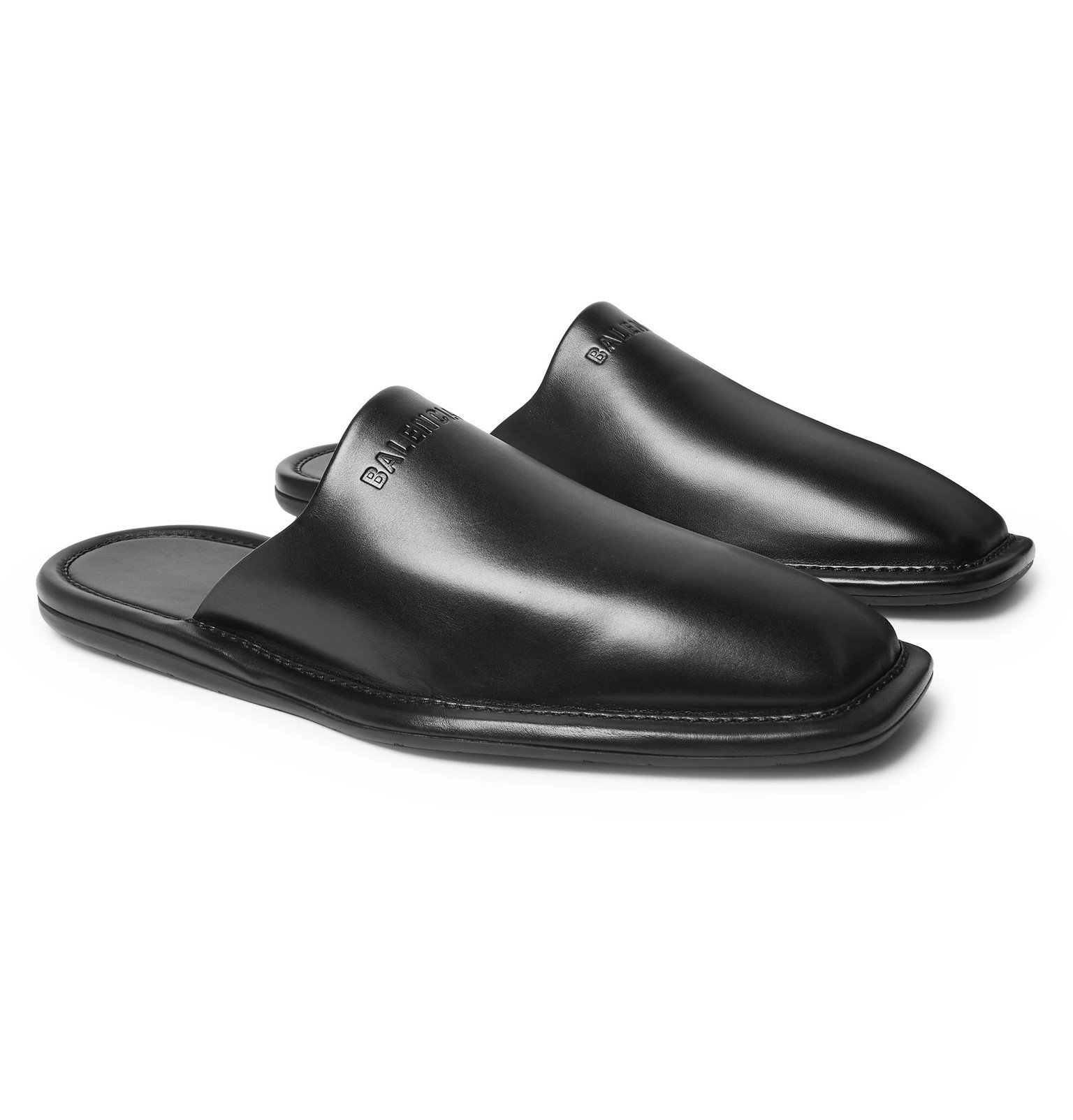Photo: Balenciaga - Logo-Debossed Leather Backless Loafers - Black