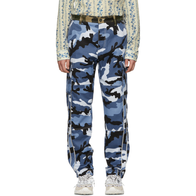Photo: Valentino Blue Camouflage Cargo Trousers