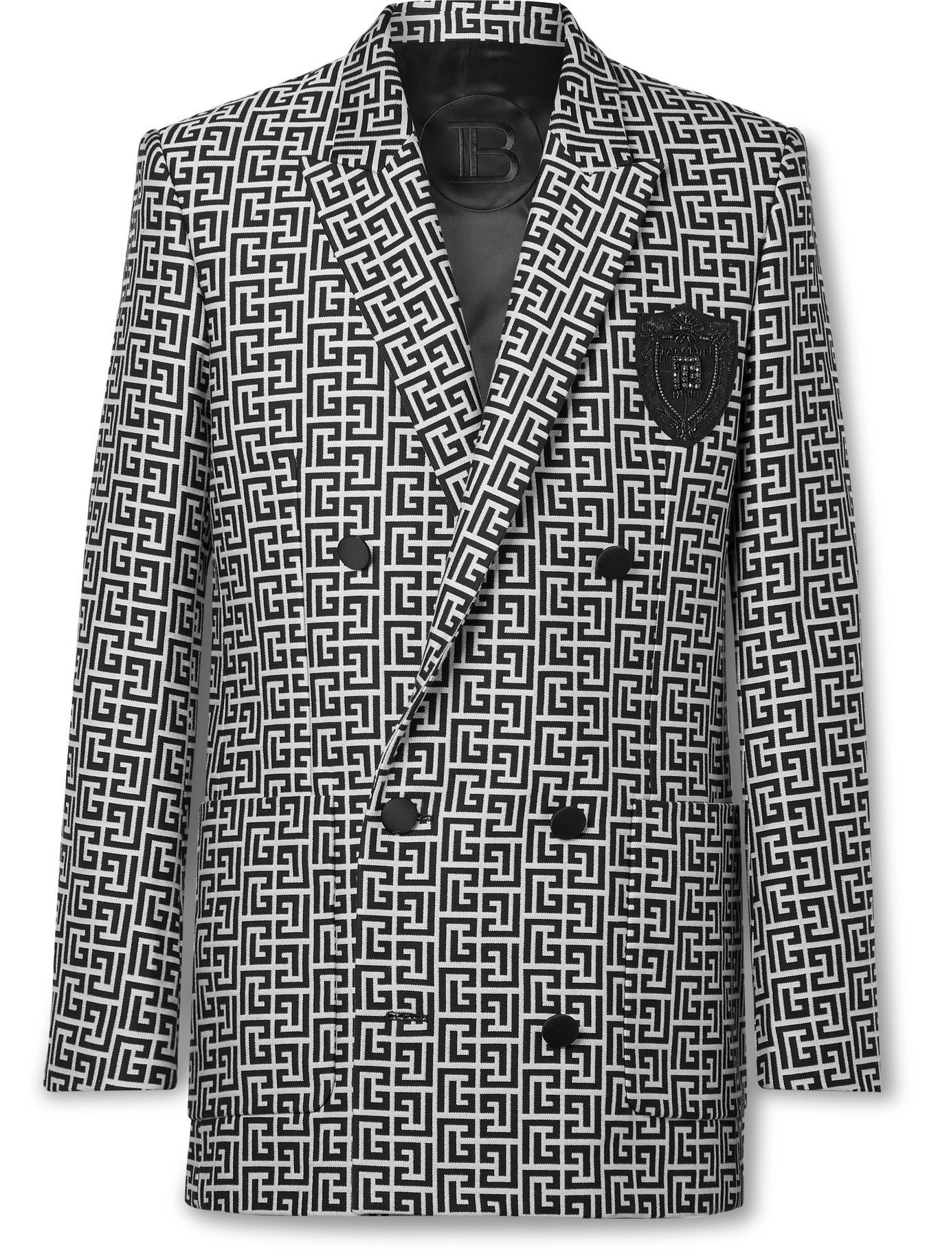 Photo: BALMAIN - Double-Breasted Logo-Jacquard Cotton Blazer - Black - IT 46