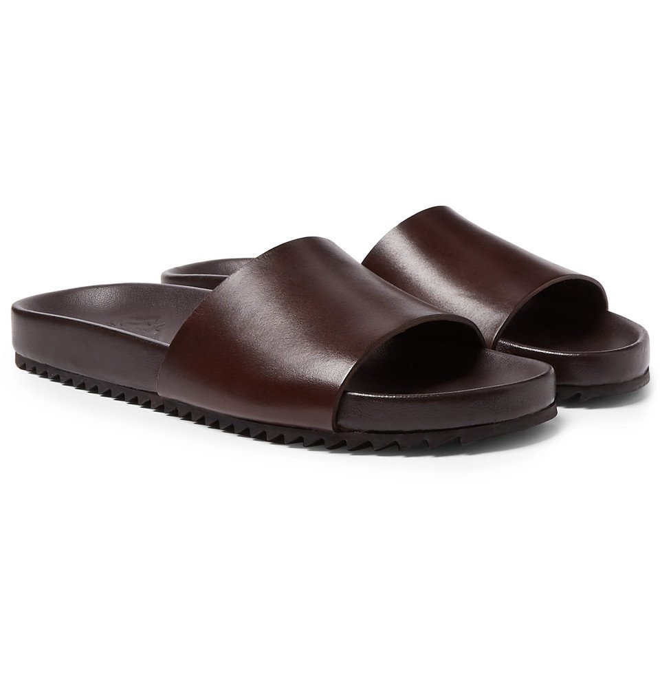 Photo: Grenson - Kendrick Hand-Painted Leather Slides - Dark brown