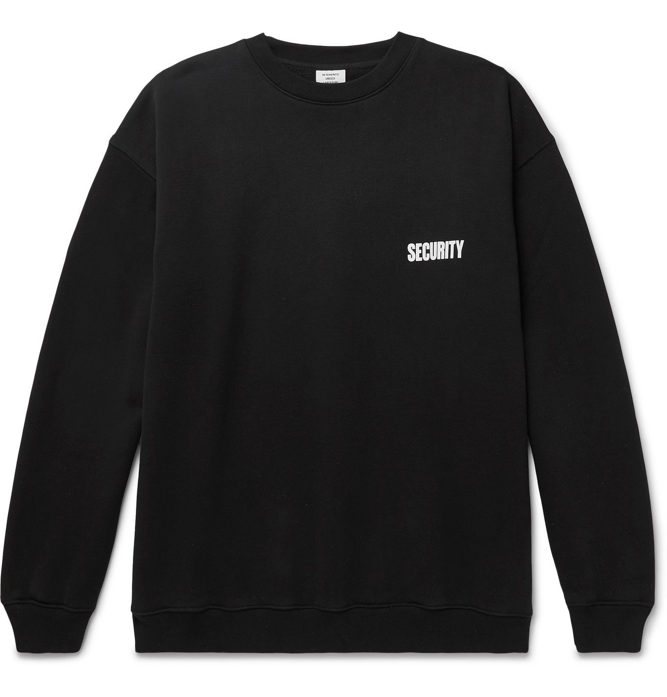 Photo: Vetements - Printed Fleece-Back Cotton-Blend Jersey Hoodie - Black