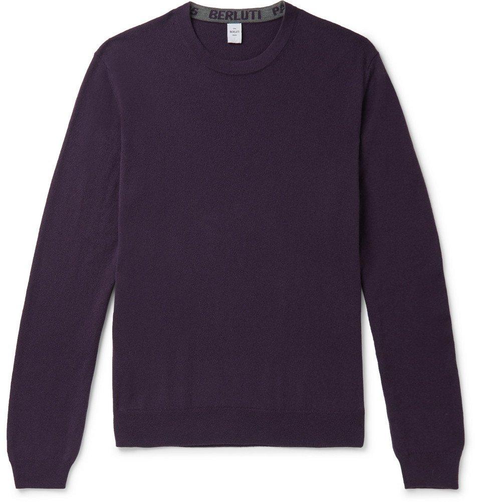 Photo: Berluti - Cashmere and Mulberry Silk-Blend Sweater - Purple