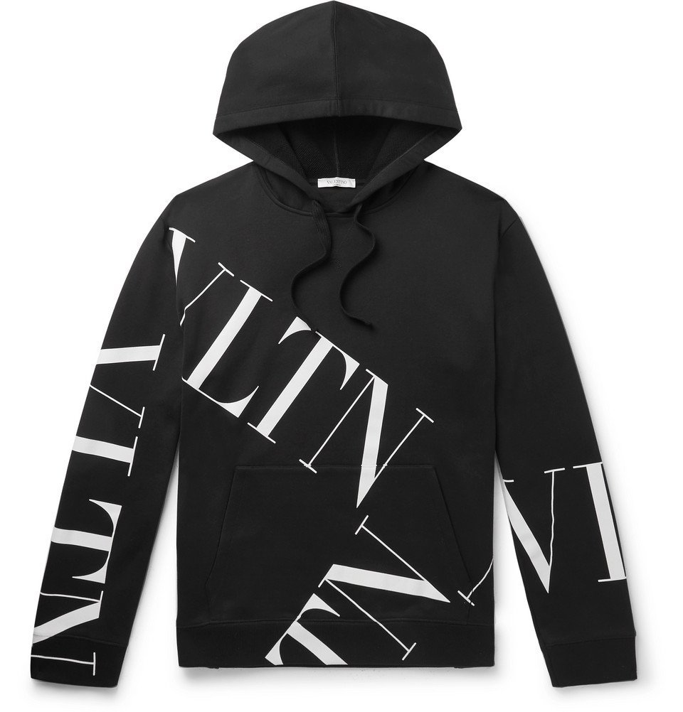 Photo: Valentino - Logo-Print Loopback Cotton-Blend Jersey Hoodie - Black