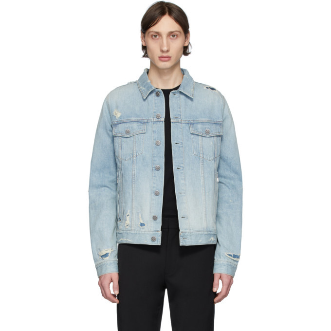 Photo: Balmain Blue Denim Embossed Logo Jacket