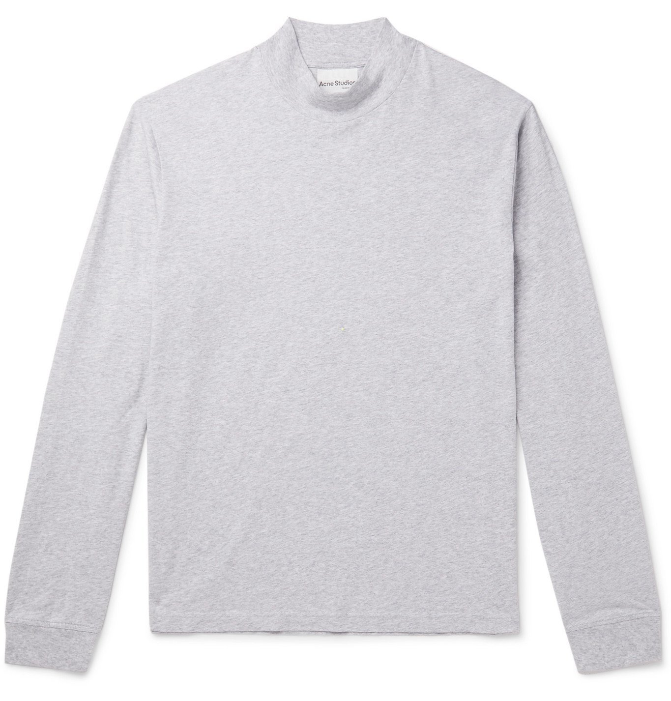 Photo: Acne Studios - Mélange Cotton-Jersey Mock-Neck T-Shirt - Gray
