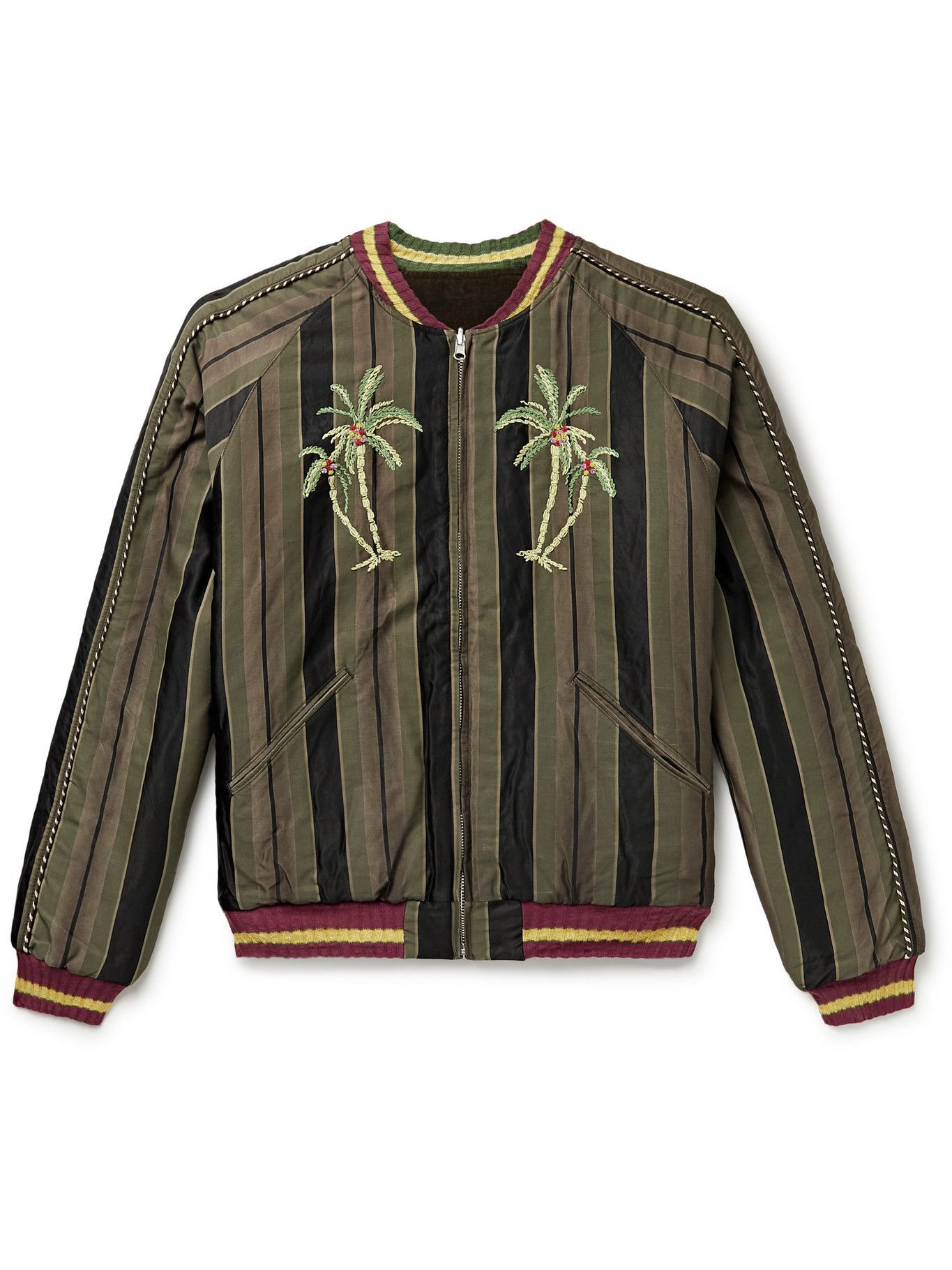 Photo: KAPITAL - Sumi Reversible Embroidered Striped Cotton-Blend Twill and Velour Jacket - Black