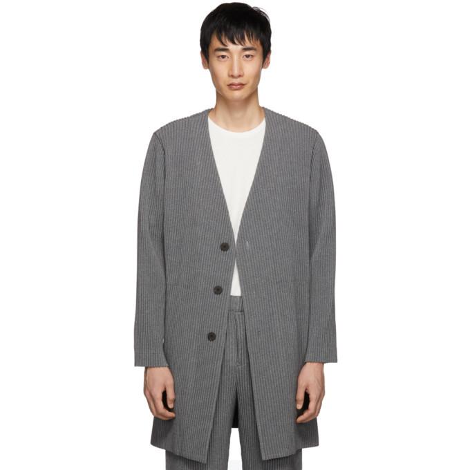 Photo: Homme Plisse Issey Miyake Grey Wool-Like Pleated Cardigan